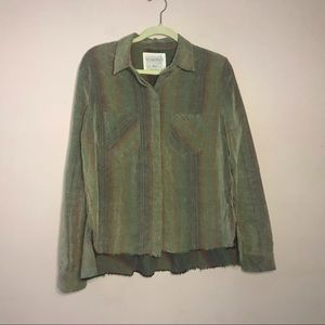 We the free button up raw hem shirt